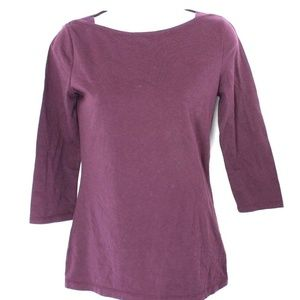 Merona Boat Neckline Top 3/4 Length Sleeve Purple